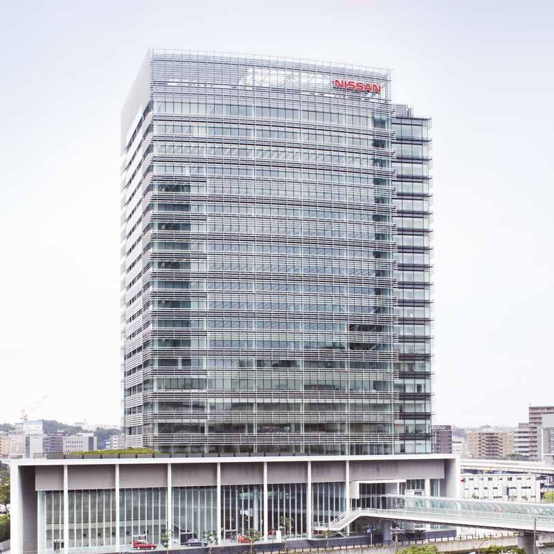 2019年度第1四半期(4~6月)決算発表にあわせ記者会見を行った横浜市の日産グローバル本社建屋