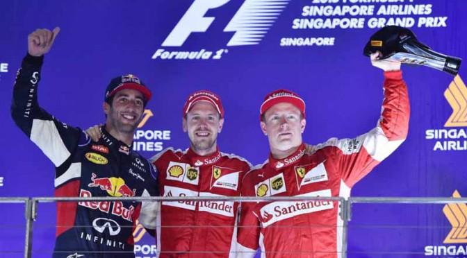 F1シンガポールGP、ベッテルがポール・トゥ・ウィンで今季3勝目