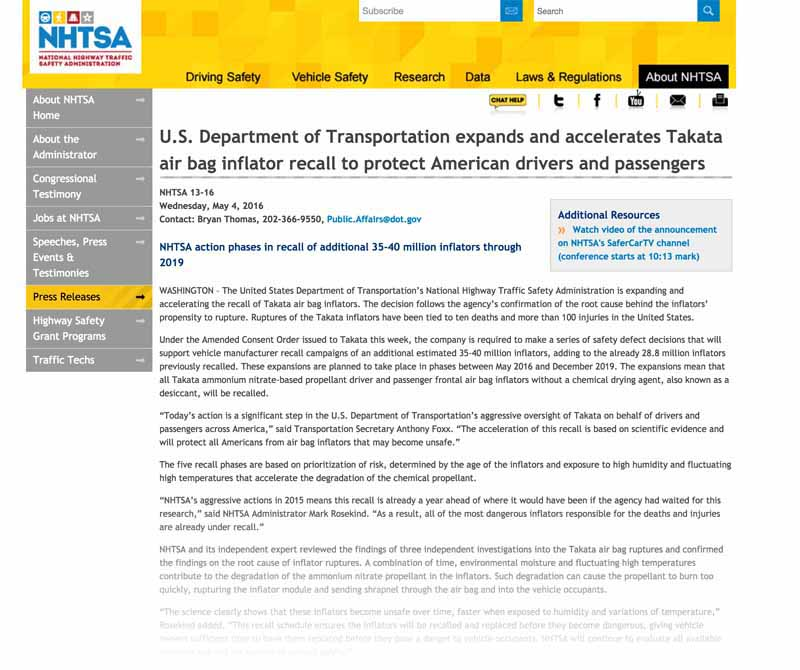 us-department-of-transportation-highway-traffic-safety-administration-and-the-japanese-takata-the-inflator-of-additional-recall-up-to-40-million-pieces-in-the-agreement20160506-2