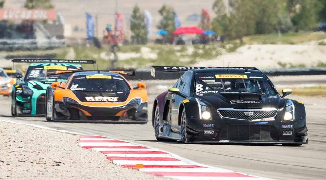 Michael Cooper, driver of the #8 Cadillac ATS-V.R races to a 6th place finish Sunday, August 14, 2016 during the second of two weekend Pirelli World Challenge GT Championship races at Utah Motorsports Campus in Tooele, Utah. Cooper's teammate, Johnny O'Connell, driver of the #3 Cadillac ATS-V.R, finished 10th. (Photo by Richard Prince for Cadillac Racing)
