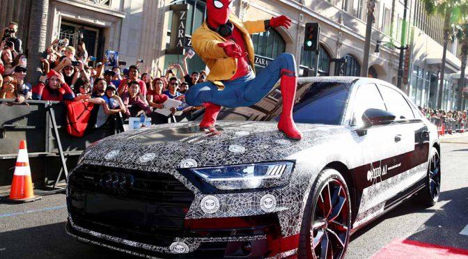 新型Audi A8、新作スパイダーマン映画初披露のサプライズゲストで登場