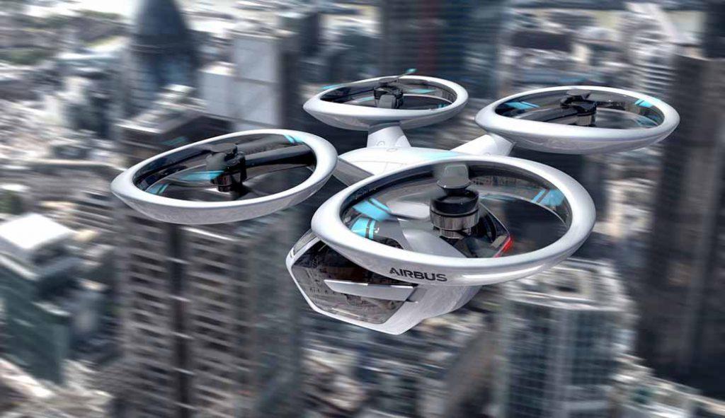 写真はアウディAG・イタルデザイン・エアバスの3社が、3月8日~18日に開催されたジュネーブモーターショーで発表した道路上だけでなく空中も移動する自動運転EVのコンセプトモデル