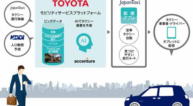トヨタ自動車ら4社、AIでタクシー需要を予測する配車支援システムを試験導入へ