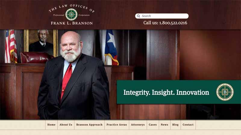 The Law Offices of Frank L. Branson(フランクL.ブランソン法律事務所)のWebサイト