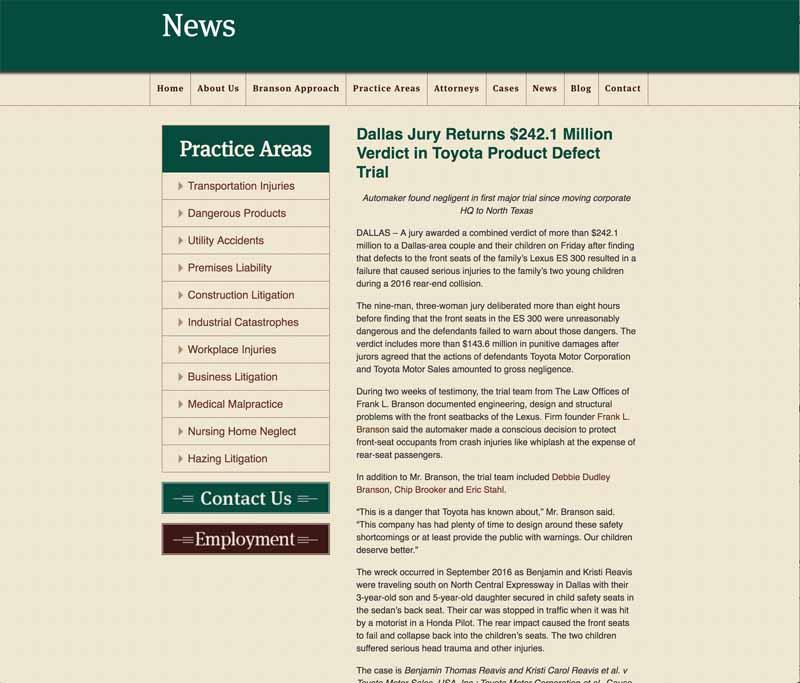 フランクL.ブランソン法律事務所が、今事案に際して公表したリリースページ