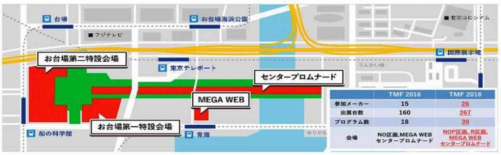 東京モーターフェスへのアクセス図(タップまたはクリックで1040ピクセルまで拡大)