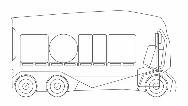 現行のT-Podの仕様は全長約7m、全高3.8m、車体下部には300キロワットのバッテリーが搭載されており、およそ200キロメール枠の走行範囲であれば輸送対応できるとされている。最大積載時の車重が20トン。内部はおよそパレット15枚分と10~15トン積載のミドルクラス車に準じたものとなっている。