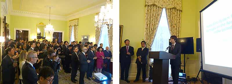 在米日本大使館旧大使公邸で行われた成果発表会の様子