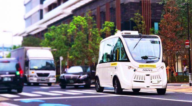 SBドライブ、ハンドルがないバスの公道自律走行を実証