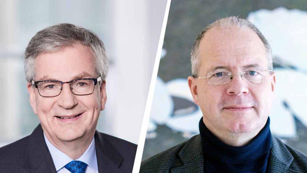写真向かって左はダイムラートラックAG取締役会長兼ダイムラーAG取締役のマーティン・ダウム氏。右はボルボ・グルー プのマーティン・ルンドステット社長兼CEO