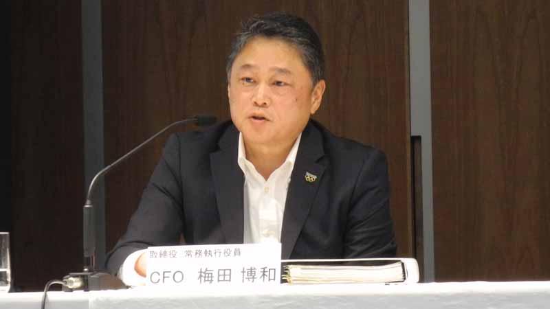 オンライン会見を行った梅田博和CFO