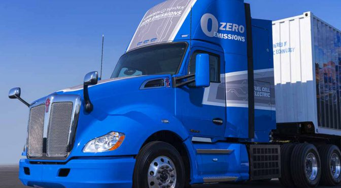 米トヨタ、新型MIRAIのFCユニット搭載の大型トラックを公開