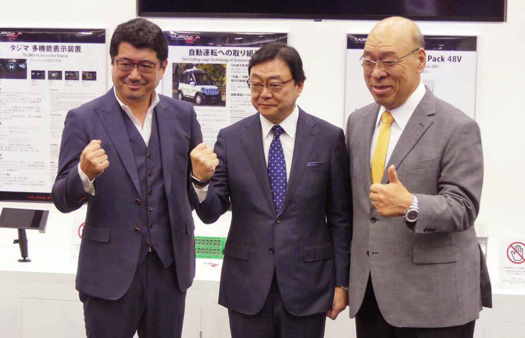 写真は2019年の東京モーターショーに於ける新事業発表場面。写真左は車両デザインを手掛ける奥山清行氏(エンツォ・フェラーリ、マセラティ・クアトロポルテのデザイナーとして著名)。